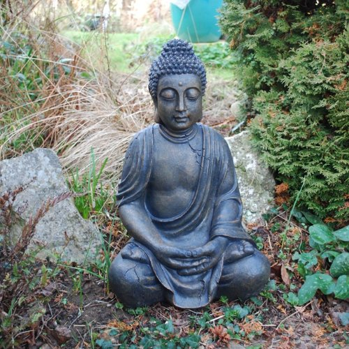 X Large Detailed Stone Look Resin Buddha Garden Ornament