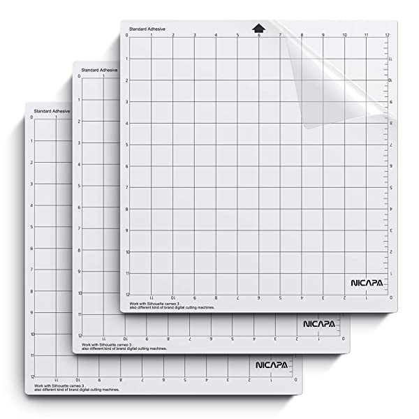 Nicapa Cutting Mat for Silhouette Cameo 3/2/1 [Standardgrip,12x12 inch,3 Pack] Adhesive&Sticky Non-Slip Flexible Gridded Cut Mats Replacement Matts Accessories Set Vinyl Craft Sewing (Tamaño: Standard For Silhouette 12*12(3PACK))