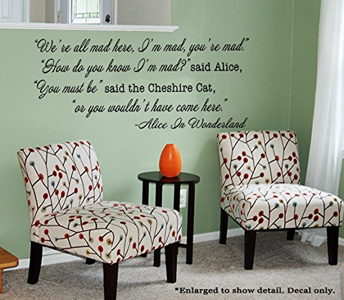 Alice In Wonderland Quote We Re All Mad Here Vinyl Wall Decal Cheshire Cat Quote Williamcameronsltm