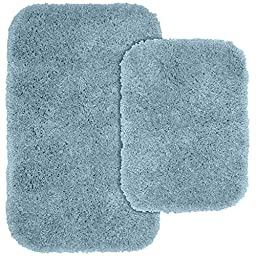 Garland Rug 2-Piece Serendipity Shaggy Washable Nylon Bathroom Rug Set, Basin Blue