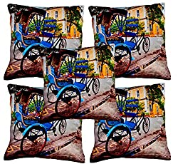 Aakarshan Digital Print Cushion Cover set (5 pcs) (30.5 cm * 30.5 cm)