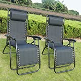2 Prime Garden Zero Gravity Chairs Outdoor Patio Backyard + Pillow Black