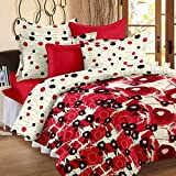 Story@Home Floral Print Premium Cotton Satin Soft And Light Weight Luxury Printed Reversible Double Size Comforter Microfibre filler, Red