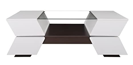 Furniture of America Ariadne 4-Compartment Coffee Table with Glass Insert, White and Walnut Finish