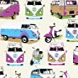 Muriva Camper Van & Moped Scooter Heavy Weight Wallpaper Wallcovering Multi Coloured J05901