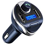 Criacr Bluetooth FM Transmitter, Wireless In-Car Radio Transmitter Adapter Car Kit, Universal Car Charger with Dual USB Charging Ports, Hands Free Calling for iPhone, Samsung, etc (Blue)