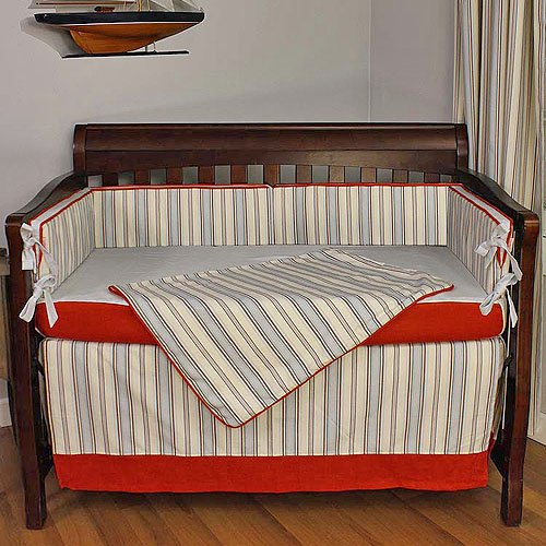 Hoohobbers Crib Bedding Set, Stellar Stripes, 4 Piece