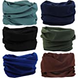 VANCROWN 9PCS & 6PCS Multifunctional Stretchable Sport & Casual Headwear, Headband Scarf Bandanna Headwrap Mask Neckwarmer & More 12-in-1 (Color: 6PC.Solid Color Series)