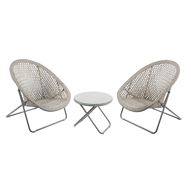 Set di tavolo e sedia da giardino in finto rattan, colore: grigio