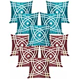Abtractive Design Cushion Covers Combo Brown & Sky Blue 40 X 40 Cms(10 Pcs Set)