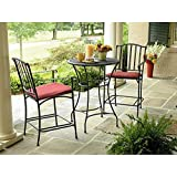 Wrought Iron 3 Pc. Bistro Set Table and Two Chairs with Weather Resistant Red Cushions Outdoor Patio Furniture Sets