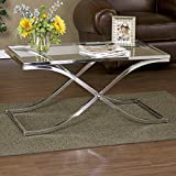 Logan Glass Top Coffee Table - Chrome, Home Furniture Perfect for Patio Bedroom Dining and Living Room,with X-shaped Curved Base,durable Metal Frame Making It Strong and Solid,perfect Companion for Your Sofa or Chair, 1 Year Limited Warranty