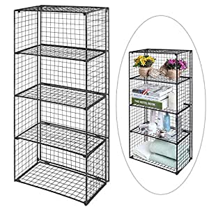 Freestanding 4 Tier Black Metal Wire Storage Shelf Unit