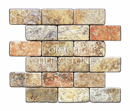 Scabos 2 X 4 Tumbled Travertine Brick Mosaic Tile - 6 X 6 Sample