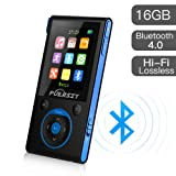 MP3 Player with Bluetooth and FM Radio,16GB Portable HIFI Lossless Sound MP3/MP4 Music Player with Pedometer/Voice Recorder for Sports,50 Hours Playback (Max expand to 128GB) (Color: Black+Blue)