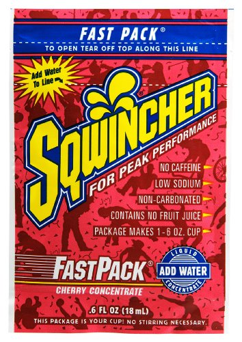 Sqwincher 015301-Ch 0.6 Oz Fast Pack Liquid Concentrate Electrolyte Replacement Beverage Mix, Cherry Flavor (4 Boxes Of 50)