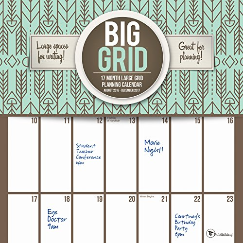 2017 Big Grid Design 17 Month Wall Calendar