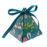 Triangle Gift Box,50pcs Flamingo Paper Boxes Wedding Party Favor Candy Decorative Box with Ribbon (Color: Triangle Gift Box, Tamaño: Triangle Gift Box)