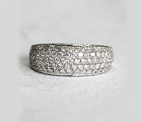 VogueGem Natural Pave 1.15ctw Diamonds 14k White Gold Wedding Band Engagement Ring Anniversary Ring