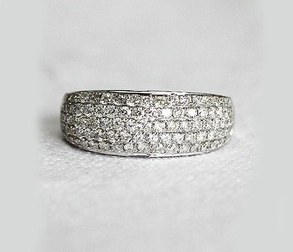 VogueGem Natural Pave 1.15ctw Diamonds 14k White Gold Wedding Band Engagement Ring Anniversary Ring