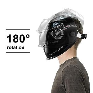 DEKOPRO Solar Powered Welding Helmet Auto Darkening Hood with Adjustable Wide Shade Range 4/9-13 for Mig Tig Arc Welder Mask (Color: Black)
