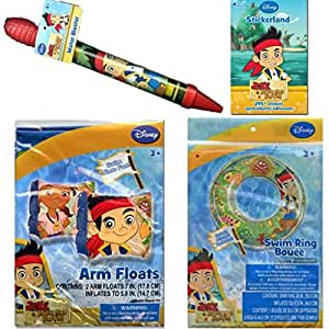 Disney Jr. Jake and the Neverland Pirates Pool Toys Set for Kids - Jake and the Neverland Pirates Pool Beach Swim Set Includes 1 Pair of Arm Floats, 1 Water Blaster PLUS 5 Bonus Jake and the Neverland Pirates Stickers