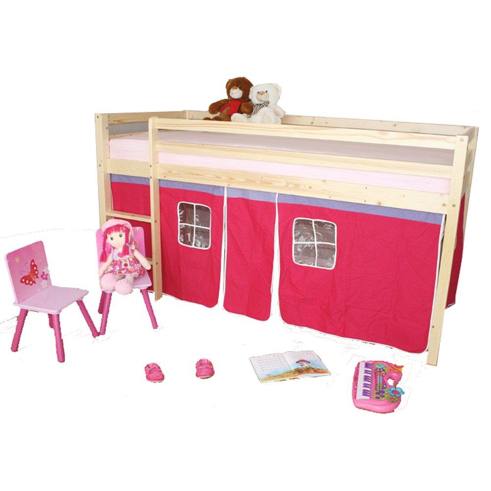Homestyle4u Hochbett Kinderbett Kiefer natur Massiv Spielbett Vorhang pink + Lattenrost