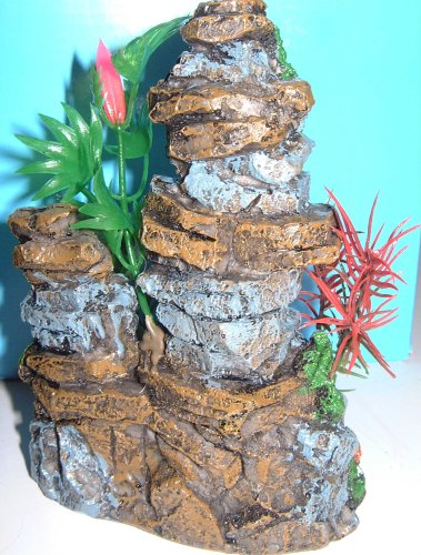 Aquarium Fish Tank Ornament Rock & Plant Decoration 5