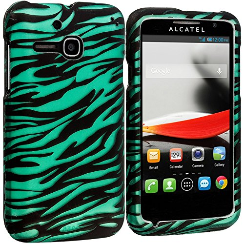 Cell Accessories For Less (Tm) Black/Baby Blue Zebra 2D Hard Rubberized Design Case Cover For Alcatel One Touch Evolve 5020T // Free Shipping By Thetargetbuys front-905069