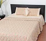 Thuhil home linen Parted Block 100% Cotton Yarndyed Double Bedspread With 2 Pillow Covers-King Size,Beige