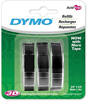 DYMO 3D Plastic Embossing Labels for Embossing Label Makers, White Print on Black, 3/8'' x 9.8', 3-roll per Pack - 5 Pack