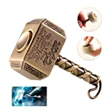MAYBO SPORTS Wiitin Thor's Battle Hammer Fidget Hand Spinner Made by Metal, the Mighty Mjolnir Keychain Toy - Antique Brass (Color: Blue)