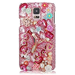 Samsung Galaxy Note 4 Case, Sense-TE Luxurious Crystal 3D Handmade Sparkle Glitter Diamond Rhinestone Ultra-Thin Clear Cover with Retro Bowknot Anti Dust Plug - Butterfly Pearl Flowers / Pink