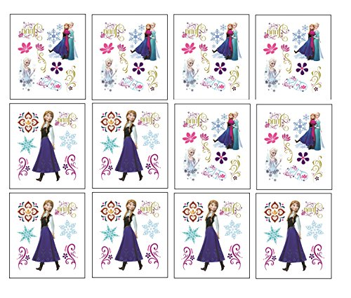 CJB Frozen Elsa Anna 12 Pieces in 2 Designs Temporary Tattoo Set (US Seller)