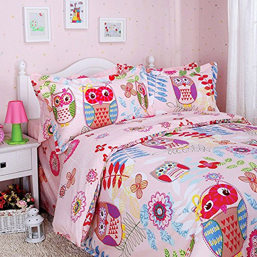 FADFAY Home Textile,Unique Cartoon Owl Kids Bedding Set,Designer Colorful Graffiti Duvet Covers,Delicate Pink Based Girls Bed Cover