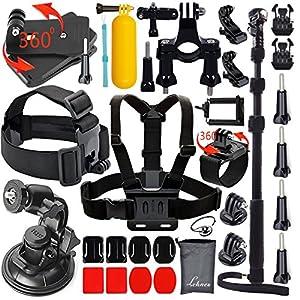 Leknes Kit d'Accessoires Sport de Plein Air Accessoire pour GoPro Hero 4 3+ 3 2 1 Noir Argent Accessory Kit for go pro SJ4000 SJ5000 Caméra Sportif