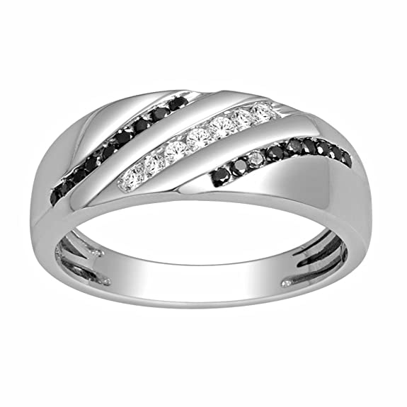 Rings-MidwestJewellery.com Men's Black Diamond Wedding Band 1/3Cttw 8Mm Wide And Whtie Diamonds 10Kw(0.33 Cttw)