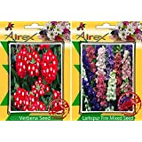 Airex Verbena And Larkspur Fire Mixed Flower Seeds ( Pack Of 30 Seeds Per Packet)