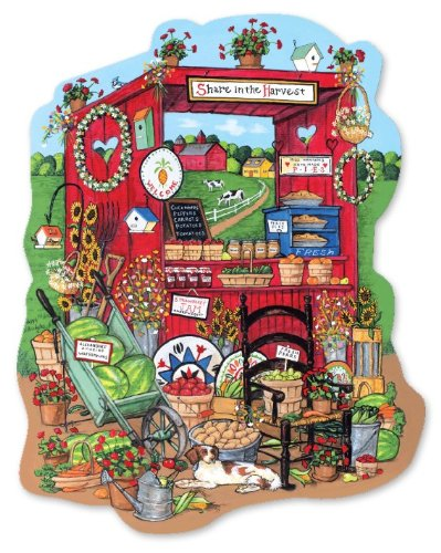 Summer Farm Stand Shaped 500 Piece Jigsaw Puzzle - 1