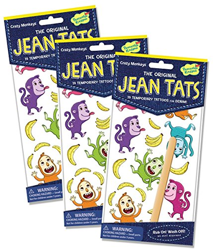 Peaceable Kingdom Jean Tats Crazy Monkeys Temporary Tattoos for Fabric - 3 Pack