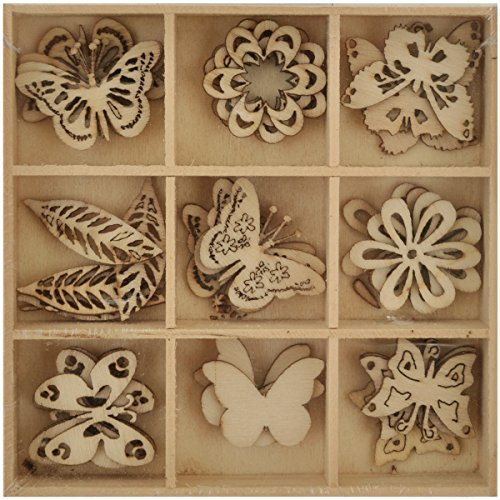 Kaisercraft Lucky Dip Wooden Shapes 45/Pkg-Butterfly 1.25