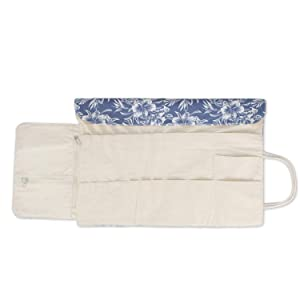 Teamoy Knitting Needles Holder Case(up to 11 Inches), Cotton Canvas Rolling Organizer for Straight and Circular Knitting Needles, Crochet Hooks and Accessories, Blue Flowers - NO Accessories Included (Color: Blue Flowers, Tamaño: 11 inches)