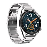 LeafBoat Compatible Huawei Watch GT Band, 22mm Adjustable Classic Wristband Bracelet Stainless Steel Band for Compatible Huawei Watch GT Sport/Classic/ Ticwatch S2 &Ticwatch E2 Smartwatch(Silver) (Color: Silver)