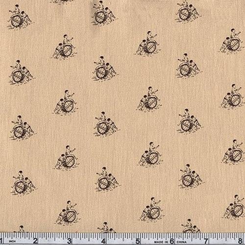 45'' Wide Classic Conversationals Barrel Roll Parchment Fabric By The Yard
