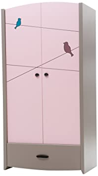 New Joy Pink Birdy 2-Door Children Wardrobe, 195 x 98 x 60 cm