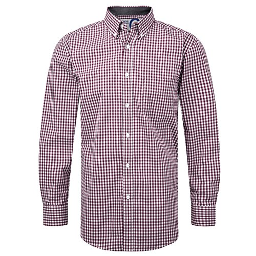 Charles Wilson Gingham Check Cotton Casual Shirt (Large, Deep Red)