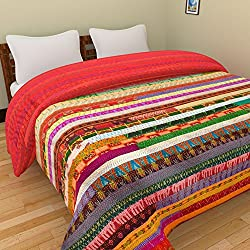 Chic & Comfort My Home MY Life.... Aditi Impex Handicrafts Asorted Silk Kantha Patch work Double Bed Cover/Quilt (220 cm x 270 cm) Multi Color