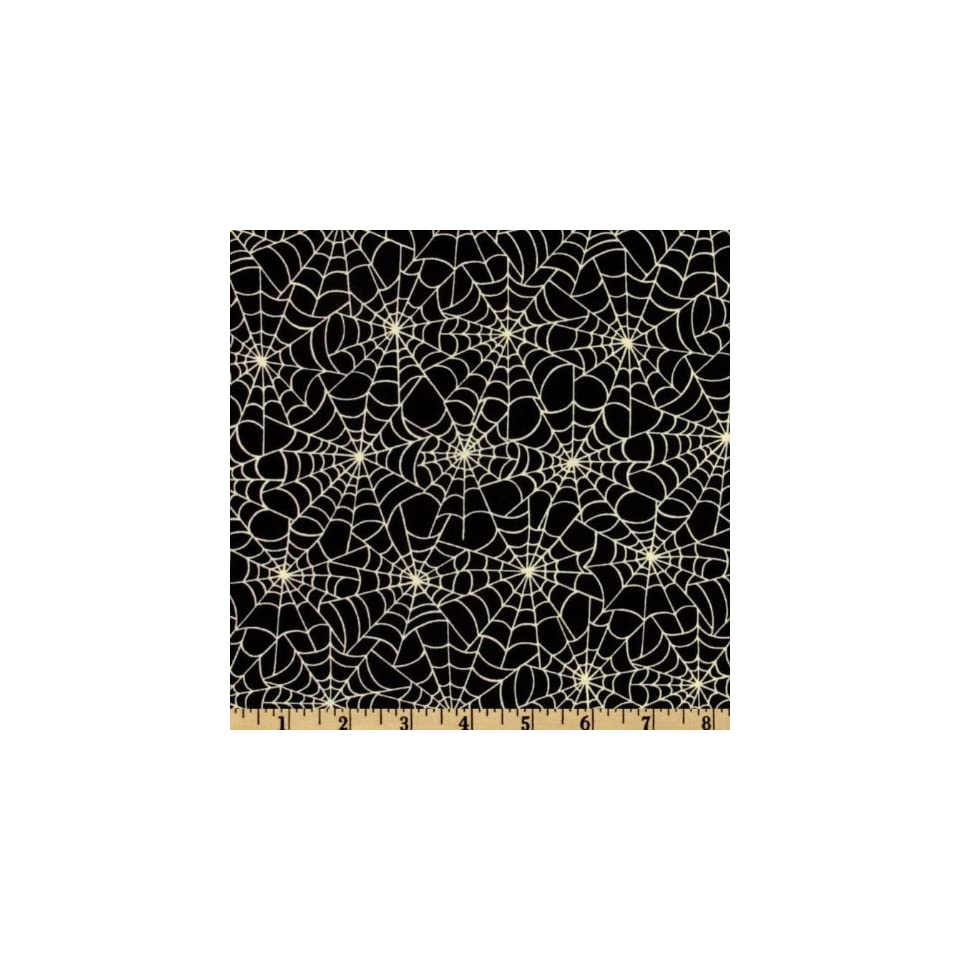 44 Wide Boo Bears Spider Webs Black Fabric By The Yard