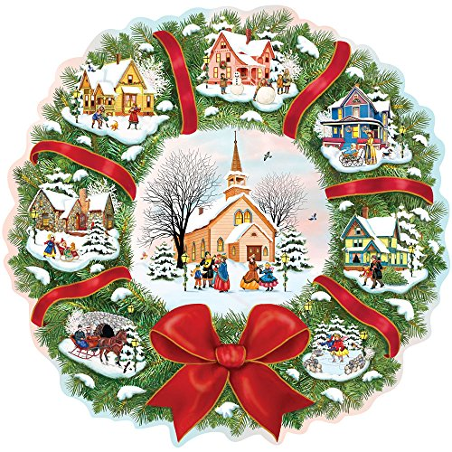 bits-and-pieces-750-piece-shaped-puzzle-the-village-wreath-christmas-wreath-holiday-by-artist-rosila