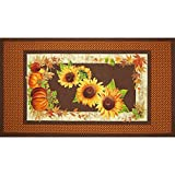 Sunflower Trails 24 In. Sunflower Panel Yellow/Brown Fabric By The Yard
